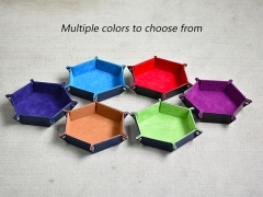 Velvet PU Leather Folding Hexagon Dice Tray