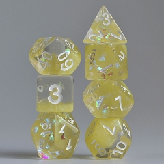 Milk Yellow with Shimmer diamond Filled Two Layer Dice(White font)