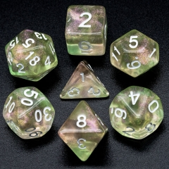 Pink&Green Glitter Dice (White font)