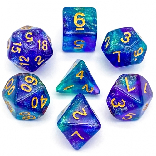 Purple&Green Glitter Dice (Gold font)