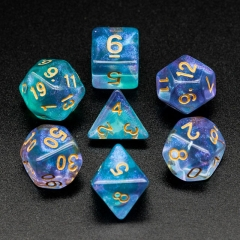 Purple&Cyan Glitter Dice (Gold font)