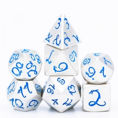 Pearl Silver Blue Dragon Font Metal Dice