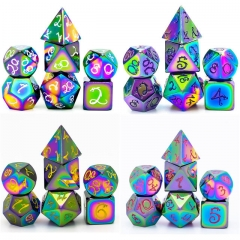 Rainbow Dragon Font Metal Dice
