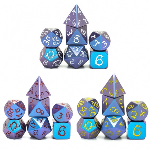 Purple&Blue Color Change Dragon Font Metal Dice
