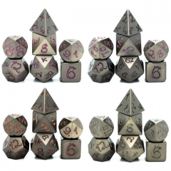 Photosensitive  Dragon Font Metal Dice(Gun Color)