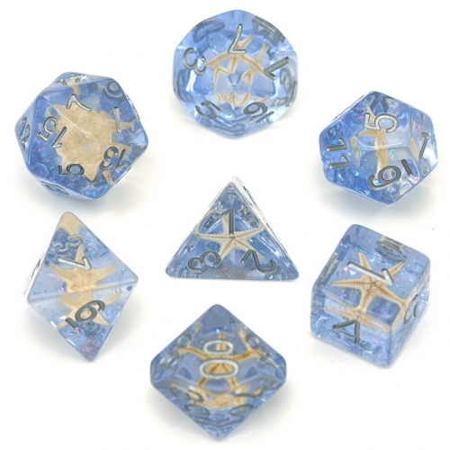 Blue Glitter with Starfish inside DND Dice