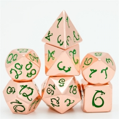 Copper Blue Dragon Font Metal Dice