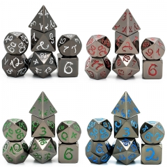 Black Nickel Dragon Font Metal Dice