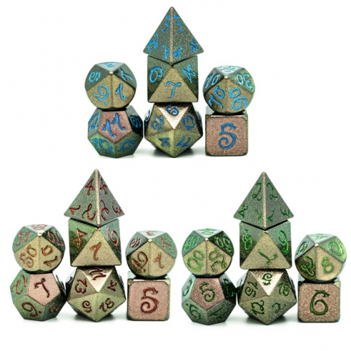 Glitter Dragon Font Metal Dice(Color Change)