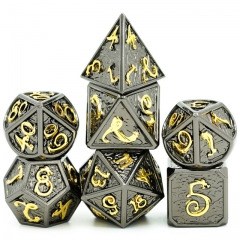 Clouds Dragon Black with Golden Font Metal dice