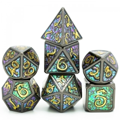 Black with Golden Font and Photosensitive Enamel Metal dice(Clouds Dragon )
