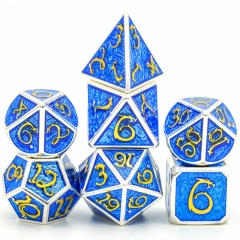 Silver with Golden Font and Blue Enamel Metal dice