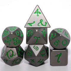 Matte Black Metal Gragon Green Font Dice