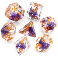 Glitter Purple Flower Dice