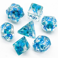 Glitter Blue Flower Dice