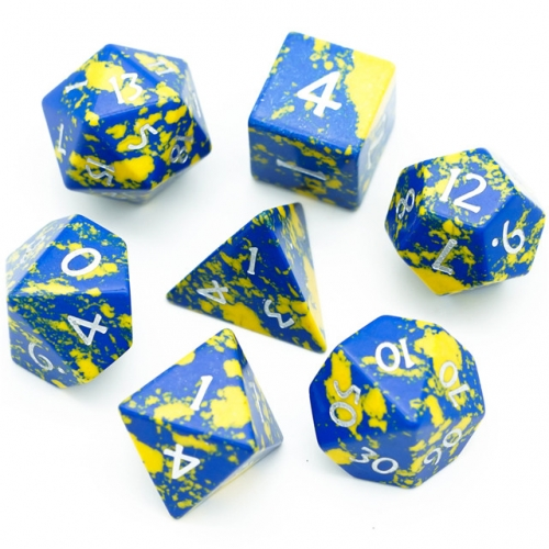 Blue&Yellow Texture Turquoise Dice Black PU leather Hexagon Box