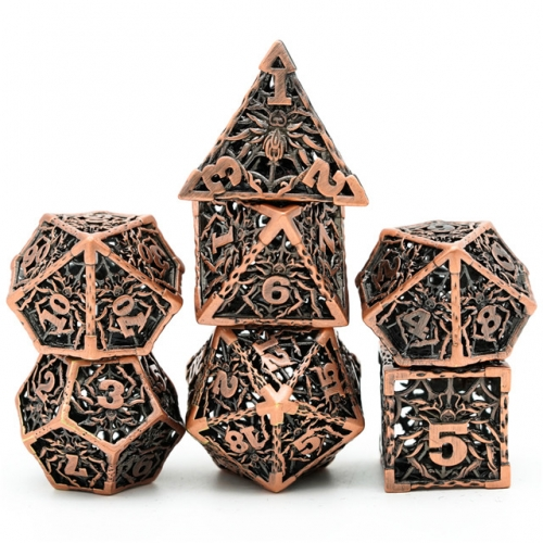 Retro Hollow Spider Metal DND Dice(Package with metal tin)