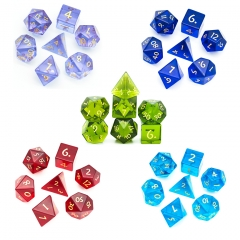 Glass Gemstone Dice with Black PU leather Hexagon Box