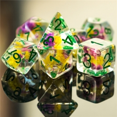 Purple&Yellow Flower Dice