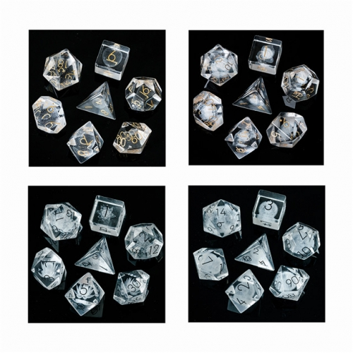 3D Laser  Transparent Glass Dice with Flannel Hexagon Box