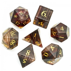 Blonde Hair Glass Dice with Black PU leather Hexagon Box